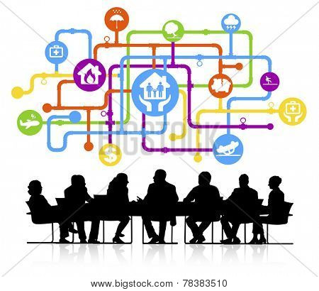 Vector of insurance themed background with silhouettes of business people sitting around the conference table.