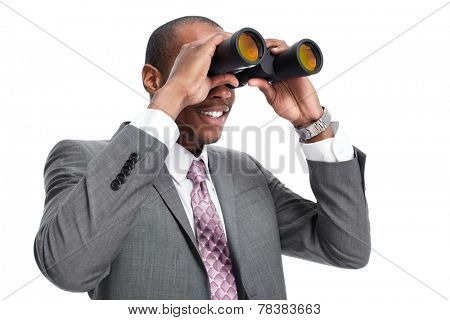 African-American businessman with binoculars  isolated white background.