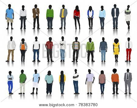 Silhouettes of Casual People with Colorful Clothes