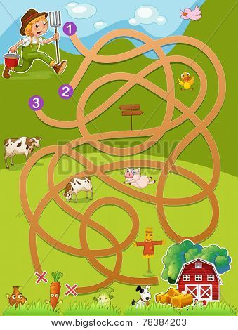 Illustration of a maze game with a farmer and barn