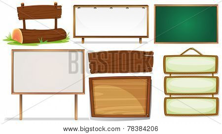 Illustration of different designs of wooden signs