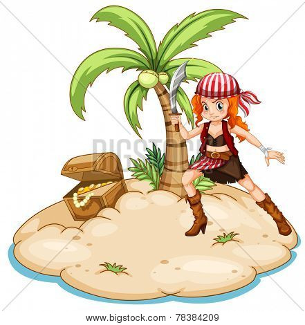 Illustration of a pirate on an island