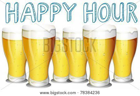 Illustration of glasses of cold beer