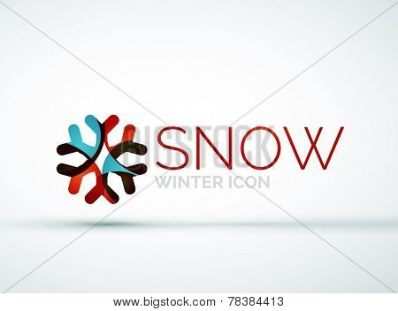Modern Creative Christmas snowflake company logo design, frost icon
