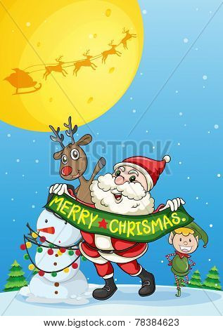 Illustration of a christmas card with Santa and elf
