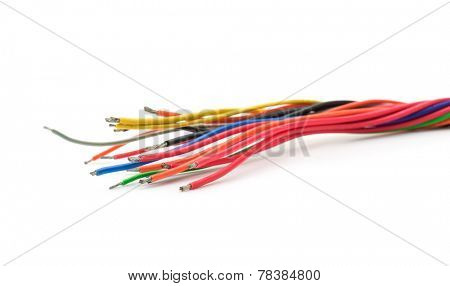 Electric cable ends, isolated on white. Colorful bundle of tinned copper electric cables.