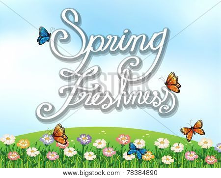 A spring freshness template showing a garden with butterflies