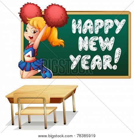 Illustration of a cheerleader and a happy new year board