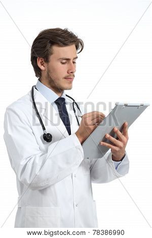 Serious Doctor Man Whiting A Medical History