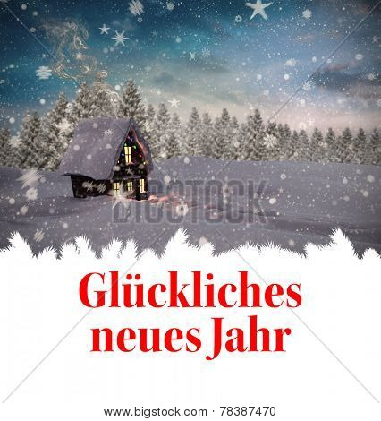 Gl�?�¼ckliches neues jahr against christmas house