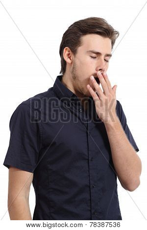 Tired Man Covering His Mouth White Yawning