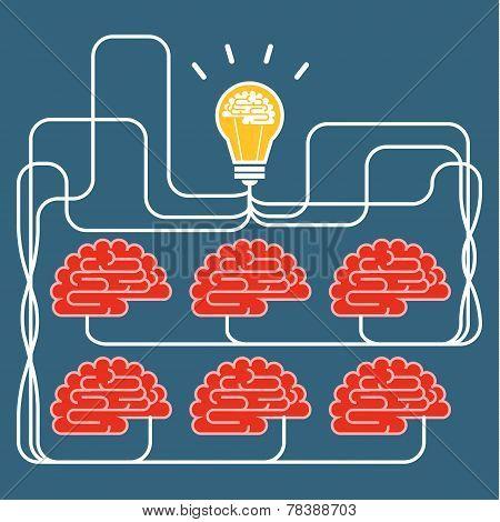 Brain and bulb light. Concept of Idea