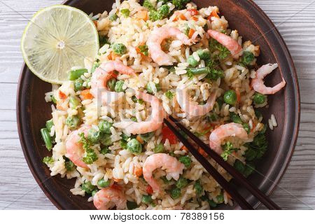 Asian Fried Rice With Seafood Closeup, Horizontal Top View