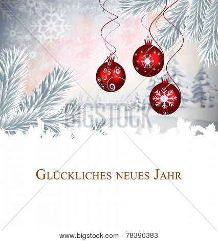 Christmas greeting in german against digital hanging christmas bauble decoration