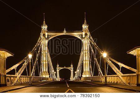 Albert's Bridge  At Night London United Kingdom Uk