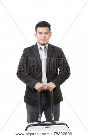 Face Of Young Asian Man With A Luggage For Container Belonging Standing And Isolated White Backgroun