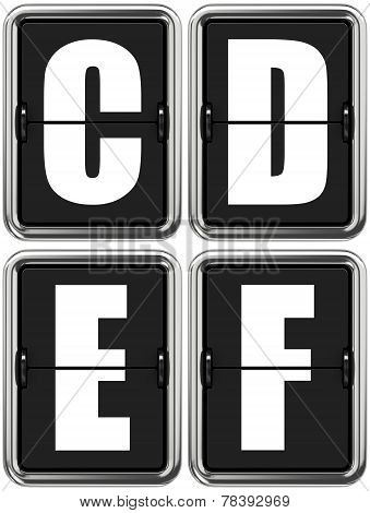 Letters C, D, E, F on Mechanical Scoreboard.