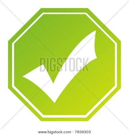 Hexagonal Tick Mark Sign