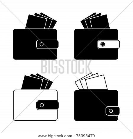 Icon - wallet with bills, money. Design in the flat style. Set vector.