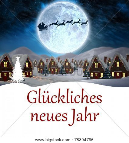 Gl�?�¼ckliches neues jahr against santa delivery presents to village