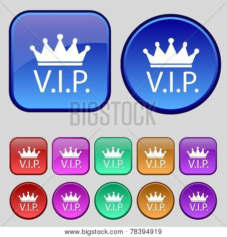 Vip Sign Icon. Set Of Colored Buttons. Vector