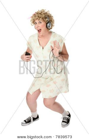 Funny Woman Waving With Music Player