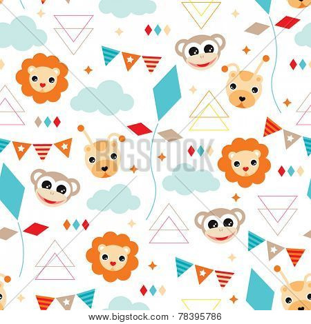 Seamless happy birthday circus animals party illustration background pattern in vector