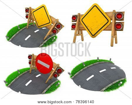 Warning Roadsigns - Set of 3D Illustrations.