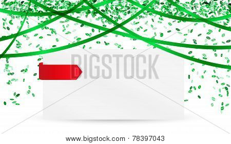 Falling Green Confetti And Blank Paper