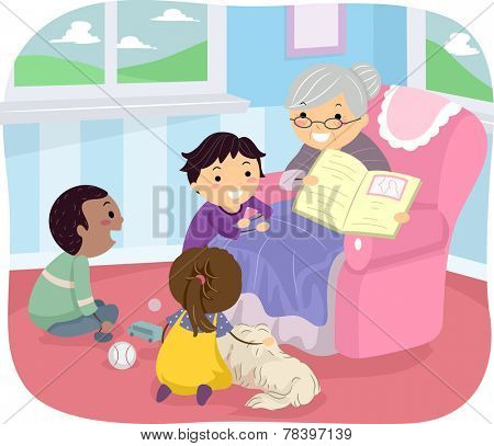 Illustration of Kids Listening to Their Grandmother Tell a Story