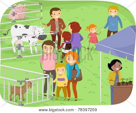 Illustration of a Family Observing Stalls in a Farm Expo