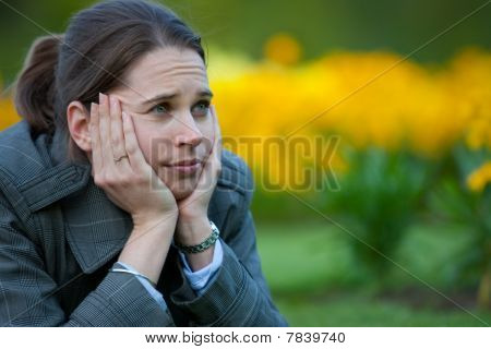 Woman Bored In The Park