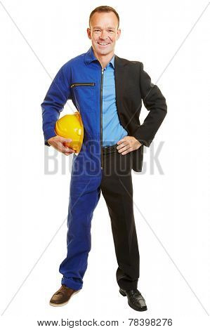 Isolated man half as worker and business manager in the appropriate clothing