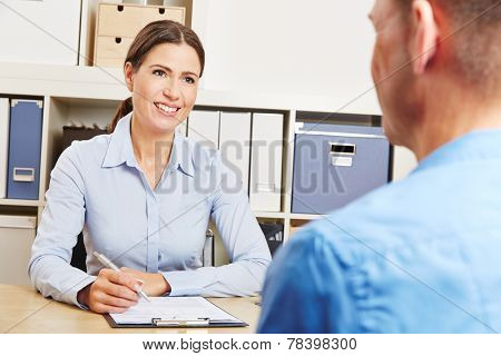 Man having consultation meeting with financial advisor
