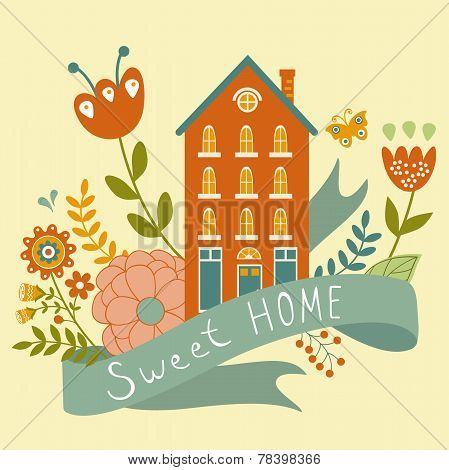 Home sweet home concept illustartion with house, ribbon and flowers