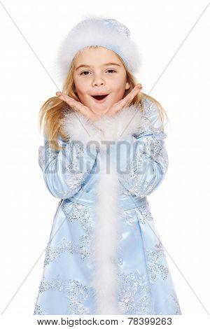 Surprised little snow maiden