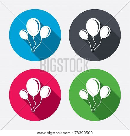 Balloon sign icon. Air balloon with rope.