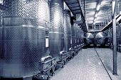 picture of fermentation  - Stainless steel fermenters used to make wine - JPG