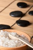 foto of swedish sauna  - aromatic salt in stone bowl with volcanic hot - JPG
