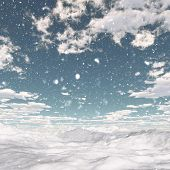 stock photo of arctic landscape  - 3D render of a snowy landscape - JPG