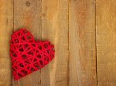 pic of heartfelt  - Red heart on a wood background  - JPG
