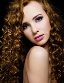 pic of black curly hair  - Portrait of a beautiful woman with long curly hairs  - JPG