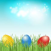image of ester  - Easter background with copyspace in the sky and  different colors painted Easter Eggs in the green grass - JPG