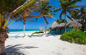image of caribbean  - Perfect Caribbean beach in Tulum Mexico - JPG