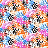 pic of tribal  - Hand painted vector seamless pattern with ethnic and tribal motifs - JPG
