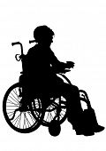 stock photo of lame  - Silhouettes wheelchair and women on white background - JPG