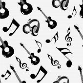 stock photo of g clef  - Musical instrument and notes with seamless pattern - JPG
