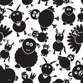 pic of gobbler  - farm animals simple black and white seamless pattern eps10 - JPG