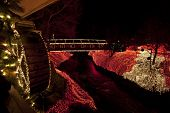 picture of covered bridge  - The covered bridge at Clifton Mill in central Ohio is decorated for the holidays - JPG