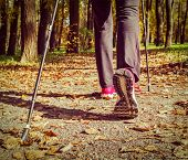 picture of pole  - Vintage retro effect filtered hipster style image of nordic walking - JPG